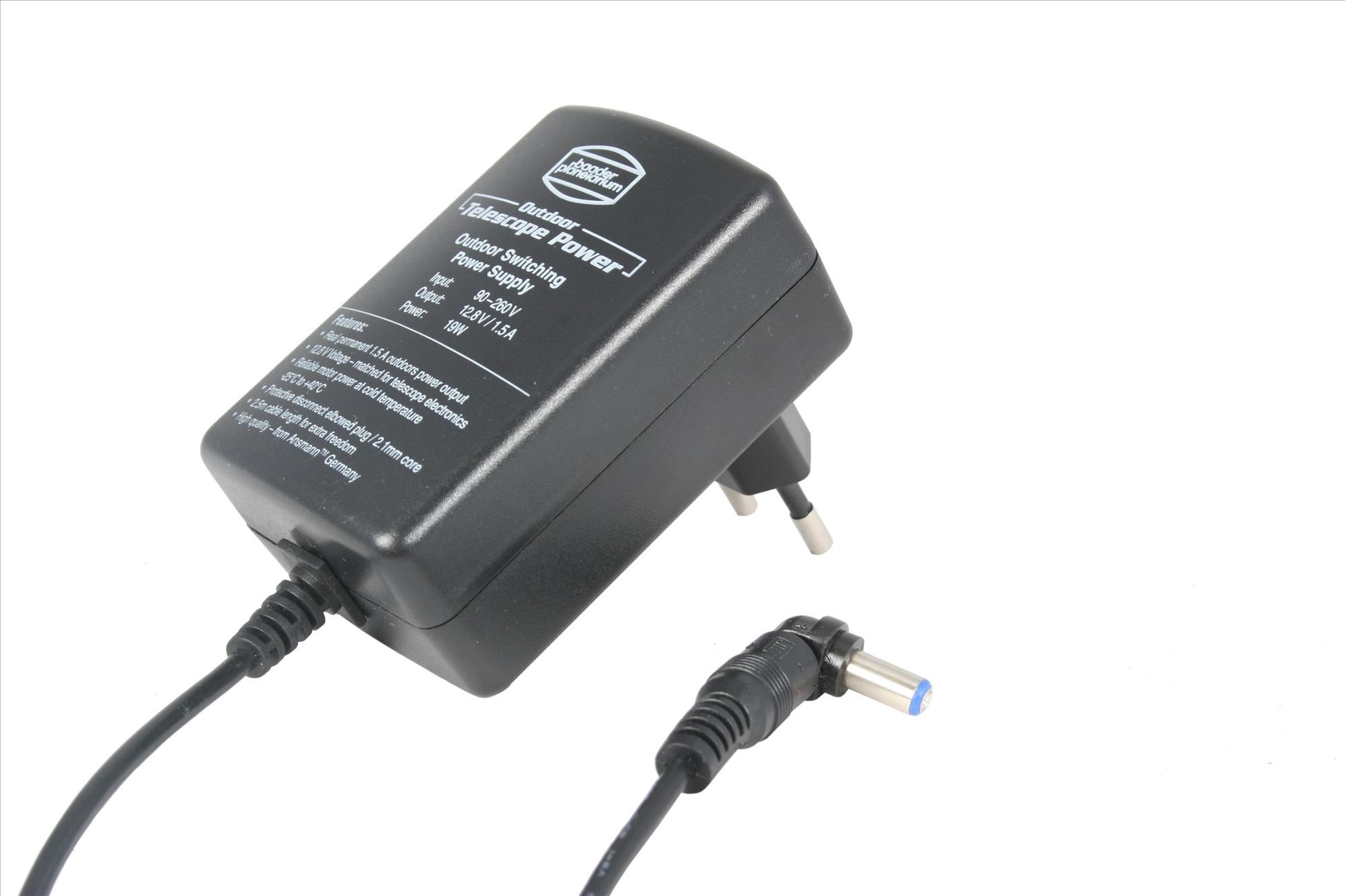 Baader Outdoor Telescope Power Switching Power Supply 12.8V / 1.5A 19W with elbowed plug -25°C up to 40°C