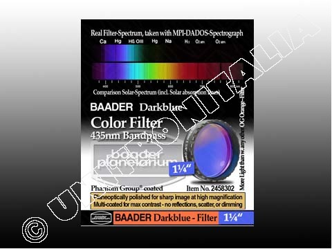 Baader Filtro Blu scuro visuale da 1¼'' (31.8mm). Passabanda da 435nm