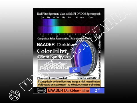 Baader Filtro Blu scuro visuale da 2'' (50.8mm). Passabanda da 435nm