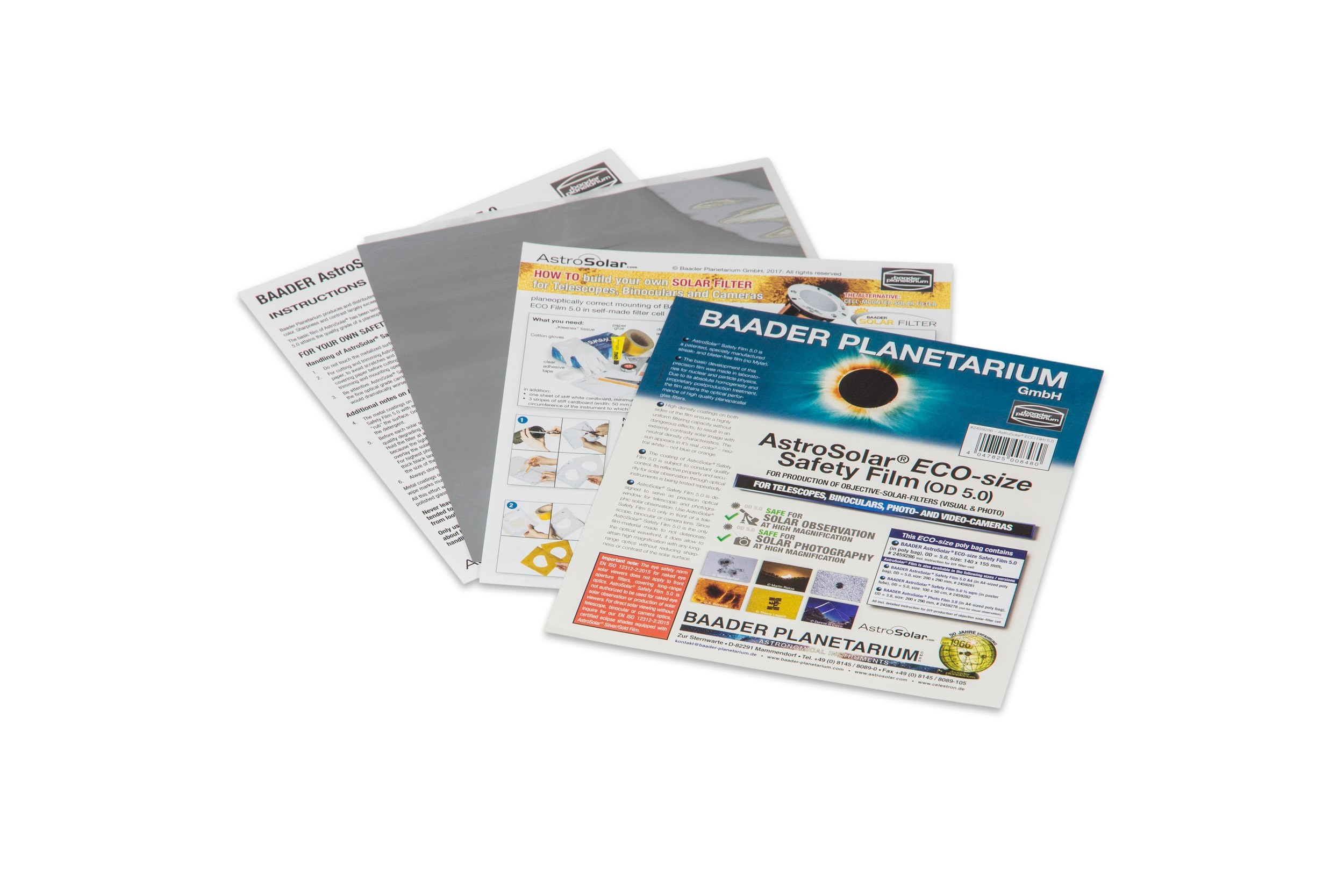 AstroSolar® ECO-size Safety Film 5.0 OD, size 140x155mm, incl. DIY instructions and template