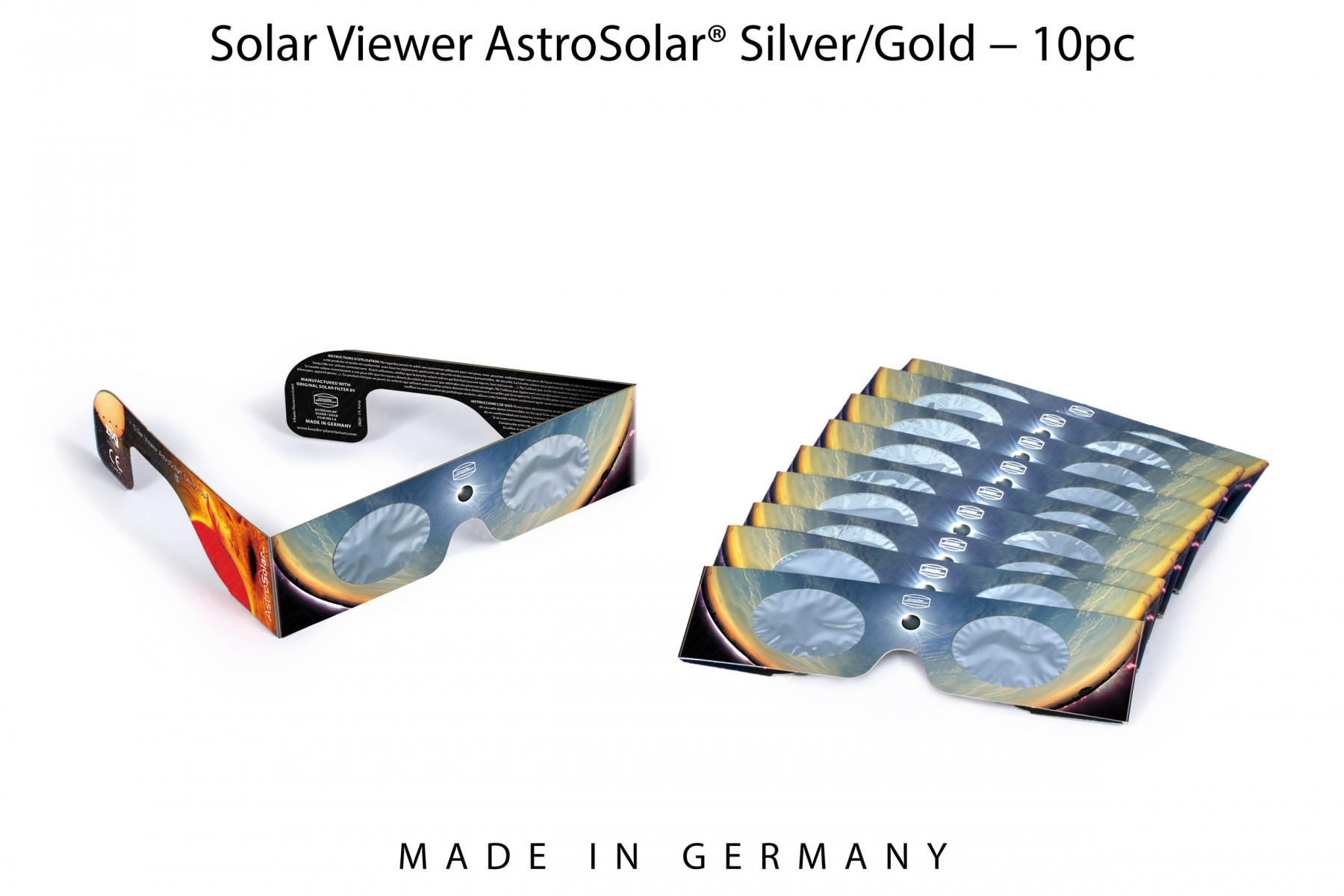 10 pcs Solar Viewer AstroSolar® Silver/Gold