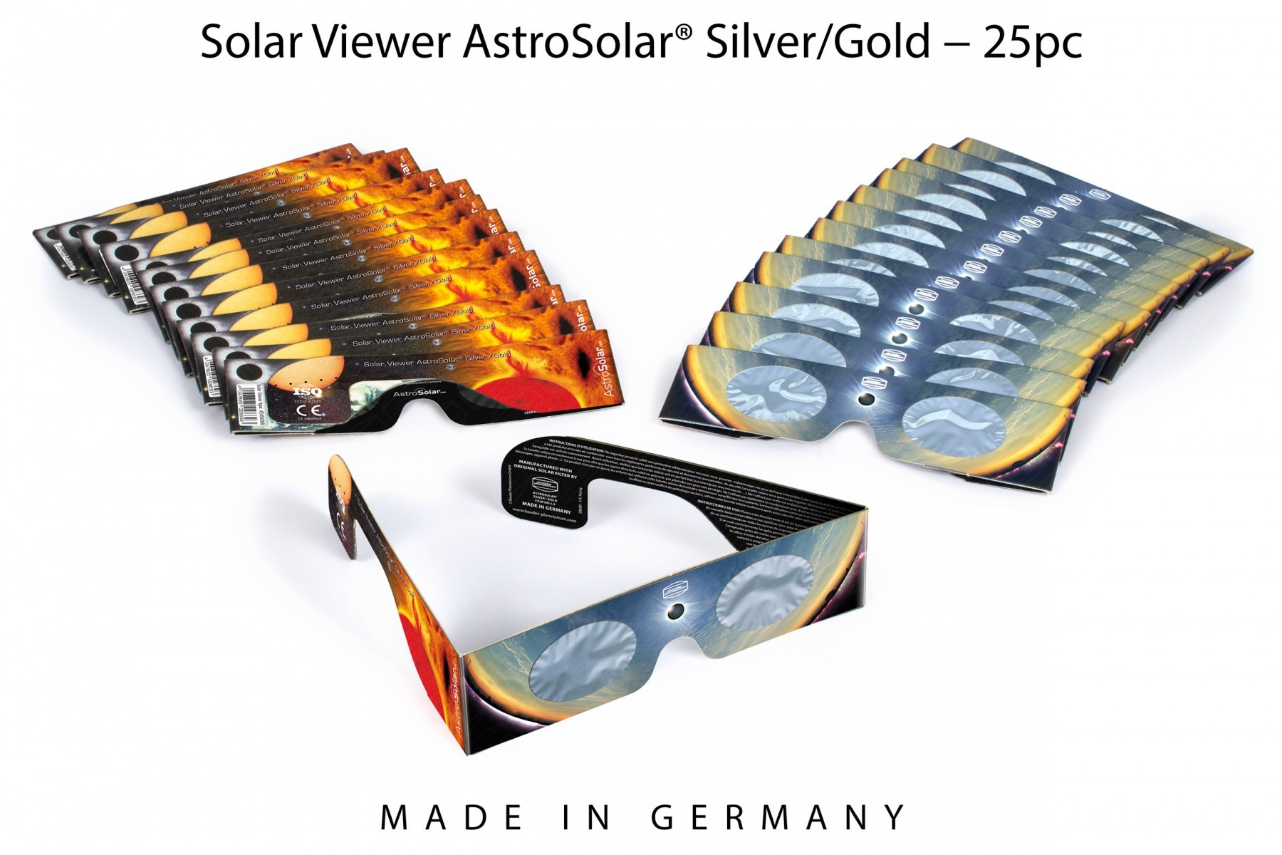25 pcs Solar Viewer AstroSolar® Silver/Gold