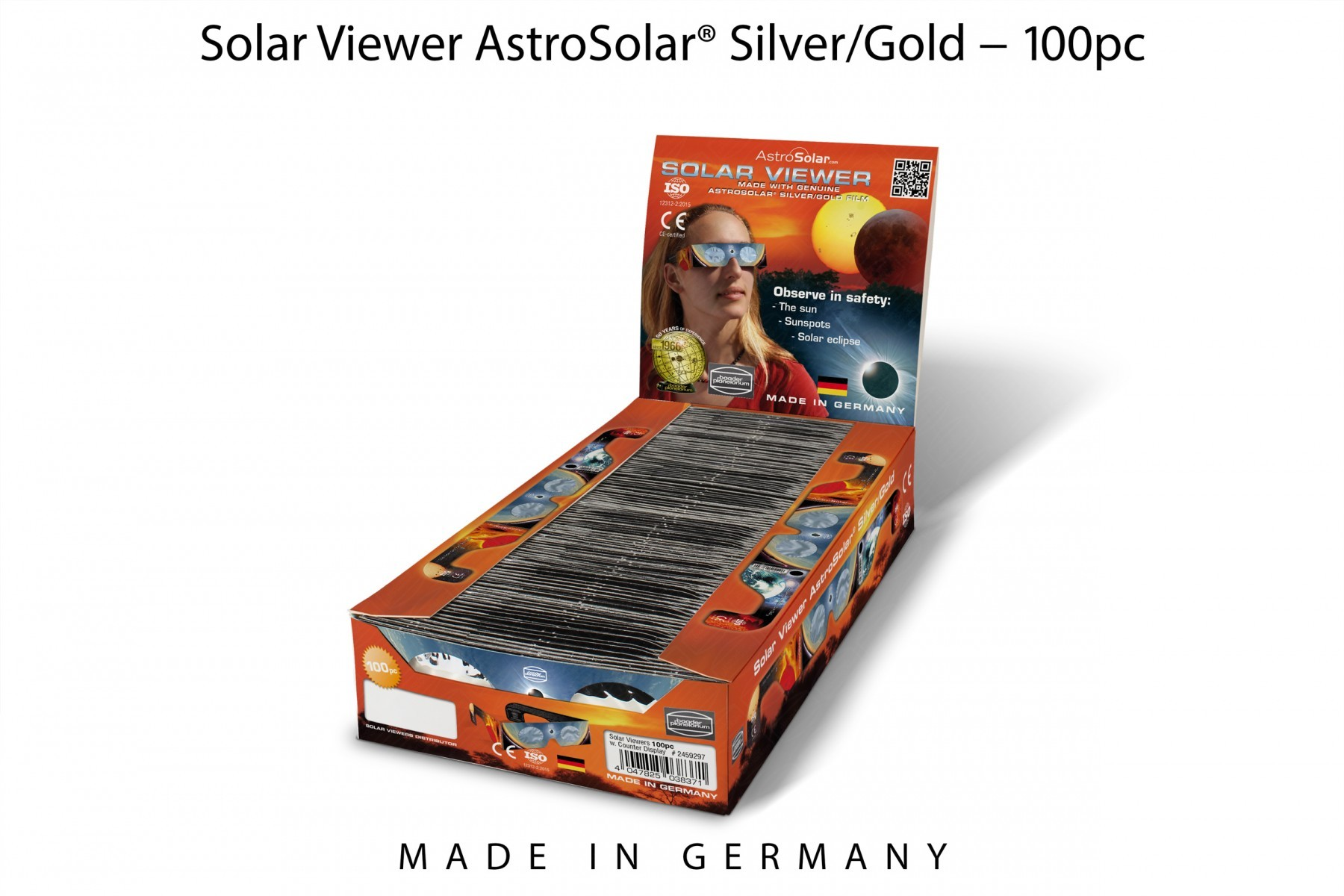 100 pcs Solar Viewer AstroSolar® Silver/Gold - Set with counter display