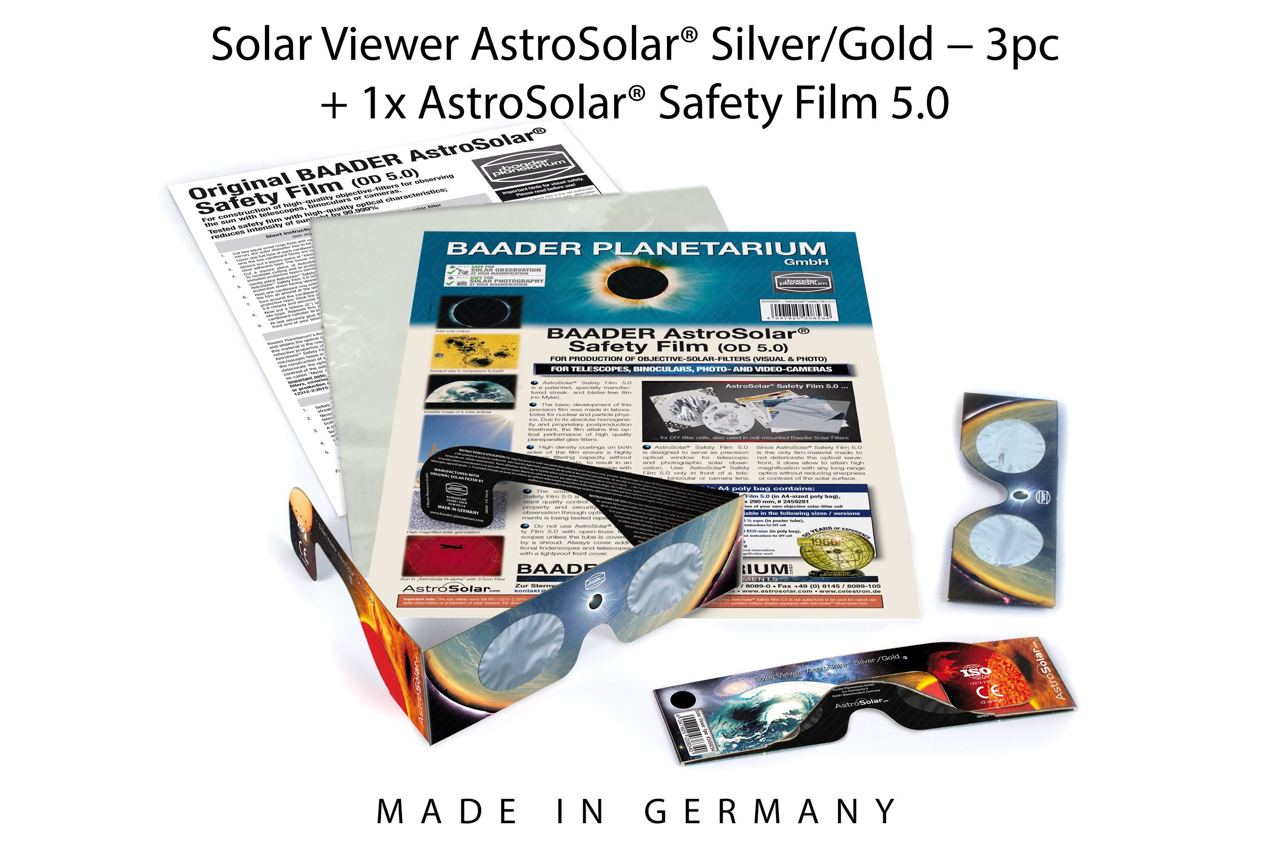 Solar Viewer AstroSolar® Set with 3 Solar Viewers and 1 sheet of AstroSolar® Safety Film A4