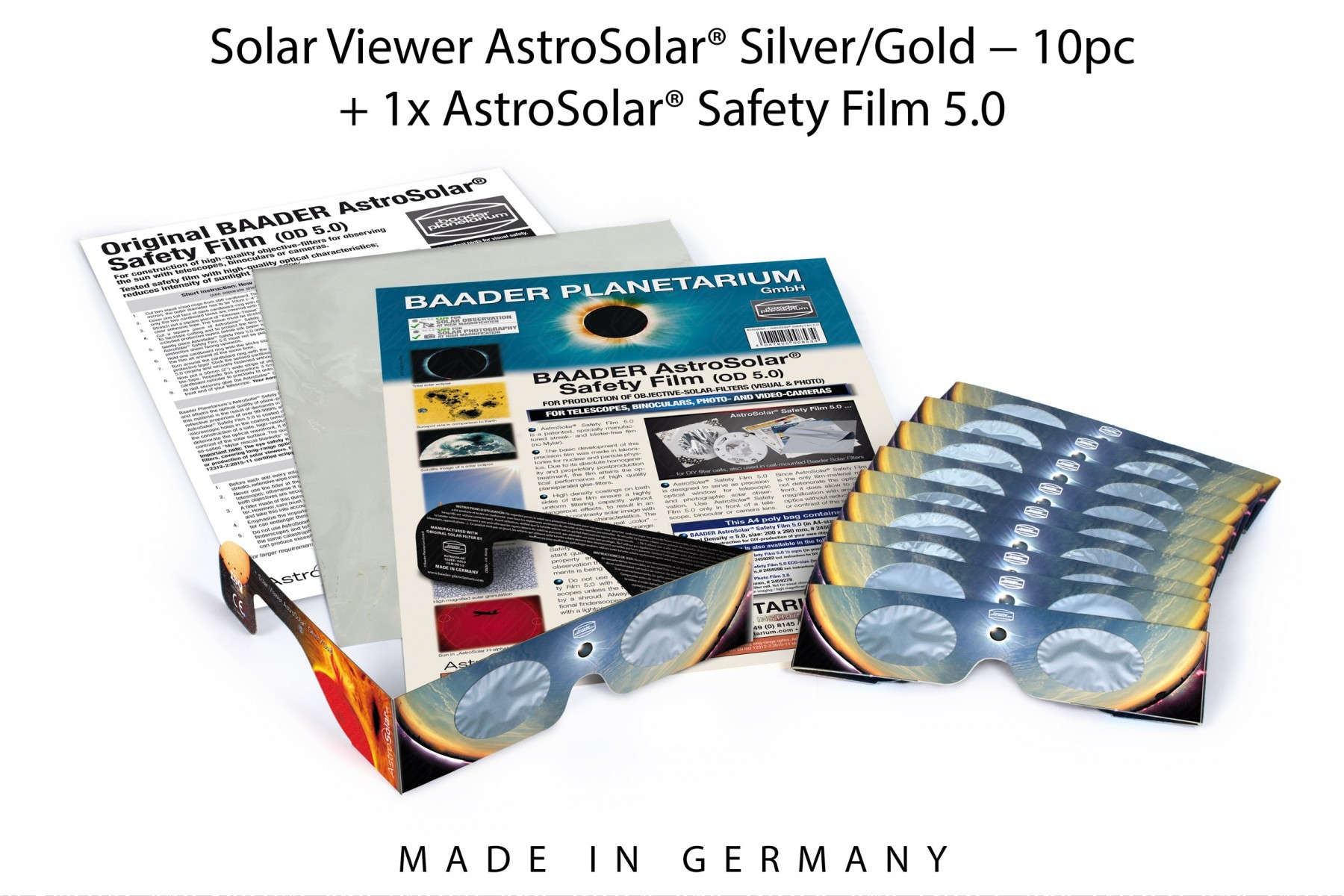 Solar Viewer AstroSolar® Set with 10 Solar Viewers and 1 sheet of AstroSolar® Safety Film A4