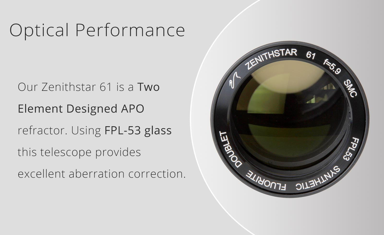 Rifrattore William Optics ZentihStar 61 MARK II APO - F/5.9 (FPL-53 doppietto) completo di: Tubo ottico, fuocheggiatore 2, Supporto a  L girevole con blocco su treppiede o barra GP a 360°.Zenithstar