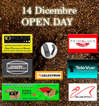 OPEN DAY 14 DICEMBRE VOYAGER - 10 MICRON - Baader Planetarium - Celestron - Osservatori Roll-Off  - PrimaluceLab - Televue - William Optics